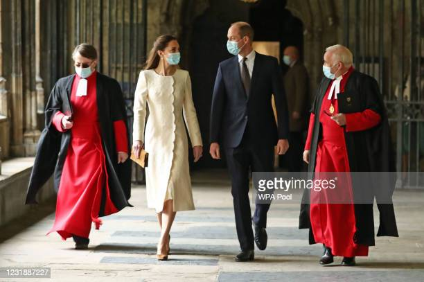 Prince William, Duke of Cambridge and Catherine, Duchess of Cambridge are greeted by Dean of Westminster The Very Reverend Dr David Hoyle and Paul...
