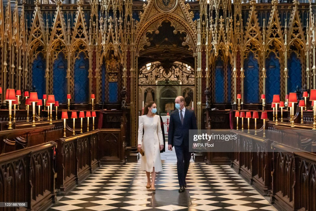 Duke And Duchess Of Cambridge Visit Westminster Abbey Vaccination Centre : News Photo