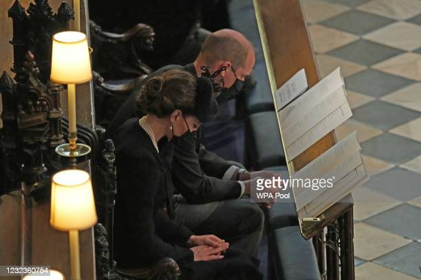 Prince William, Duke of Cambridge and Catherine, Duchess of Cambridge attend the funeral of Prince Philip, Duke of Edinburgh, at St George's Chapel...