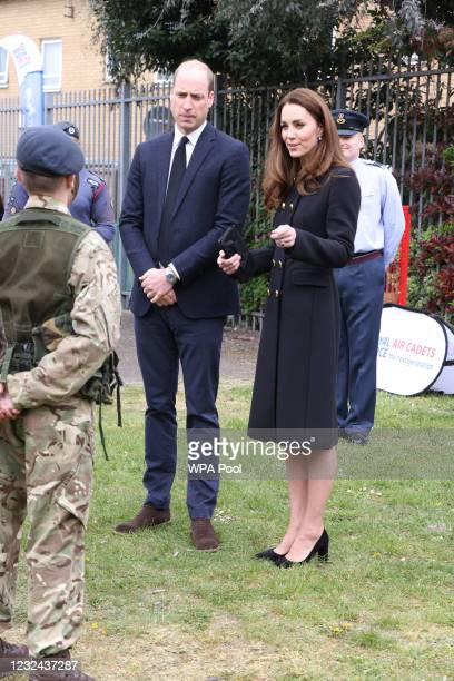 Prince William, Duke of Cambridge and Catherine, Duchess of Cambridge, wearing black as a mark of respect following the Duke of Edinburgh's passing,...