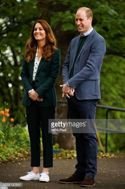 Prince William, Duke of Cambridge and Catherine, Duchess of Cambridge during their visit to Starbank Park on May 27, 2021 in Edinburgh, Scotland.