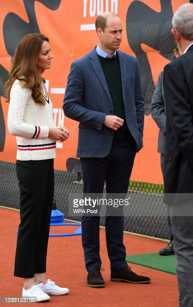 Prince William, Duke of Cambridge and Catherine, Duchess of Cambridge visit the Lawn Tennis Association's Youth programme, at Craiglockhart Tennis...