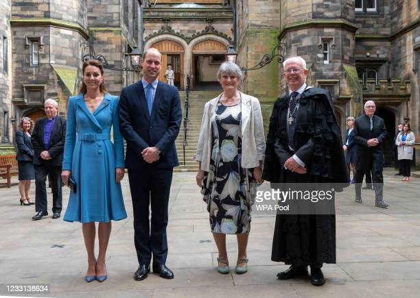 Prince William, Duke of Cambridge and Catherine, Duchess of Cambridge stand with Lady Wallace and Lord Jim Wallace as they attend the closing...
