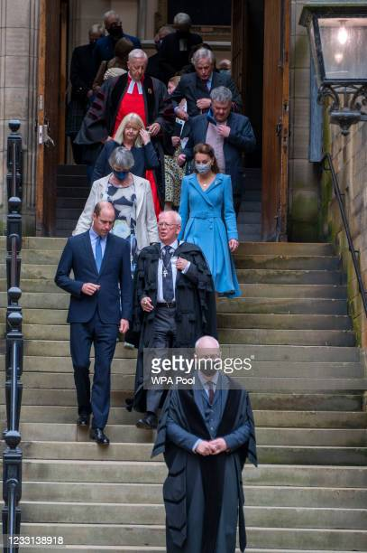 Prince William, Duke of Cambridge and Catherine, Duchess of Cambridge leave after the closing ceremony of the General Assembly on May 27, 2021 in...