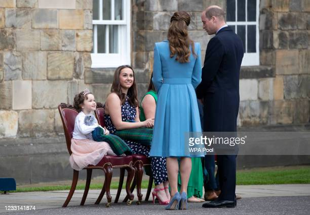 Prince William, Duke of Cambridge and Catherine, Duchess of Cambridge and Mila Sneddon with her sister Jodi, and parents Lynda and Scott Sneddon, who...