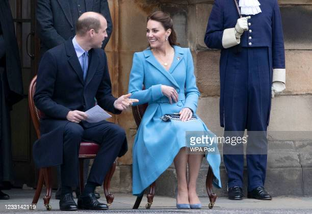 Prince William, Duke of Cambridge and Catherine, Duchess of Cambridge attend the Beating of the Retreat at the Palace of Holyroodhouse on May 27,...