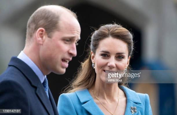 Prince William, Duke of Cambridge and Catherine, Duchess of Cambridge attend a Beating of the Retreat at the Palace of Holyroodhouse on May 27, 2021...