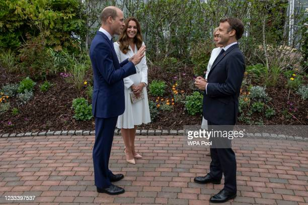 Prince William, Duke of Cambridge and Catherine, Duchess of Cambridge chat with French President Emmanuel Macron and his wife Brigitte Macron at a...