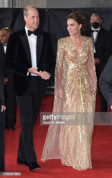 """Prince William, Duke of Cambridge, and Catherine, Duchess of Cambridge attend the World Premiere of """"No Time To Die"""" at the Royal Albert Hall on..."""