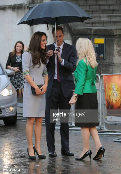 Prince William, Duke of Cambridge and Catherine, Duchess of Cambridge arrive at the premiere of 'African Cats' at the BFI on April 25, 2012 in...