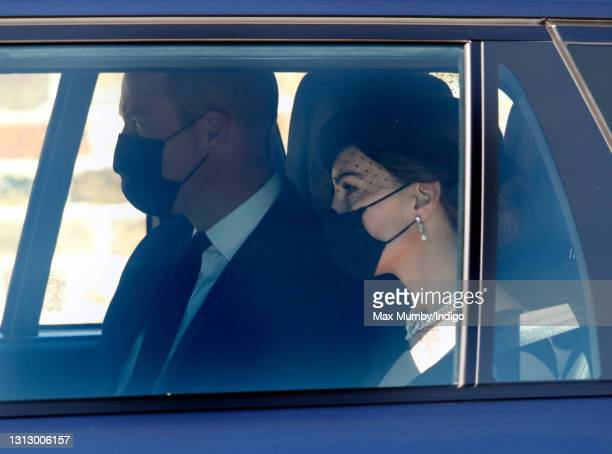 Prince William, Duke of Cambridge and Catherine, Duchess of Cambridge arrive at Windsor Castle to attend the funeral of Prince Philip, Duke of...