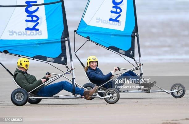 Prince William, Duke of Cambridge and Catherine, Duchess of Cambridge join Fife Young Carers for a session of land yachting on West Sands beach at St...