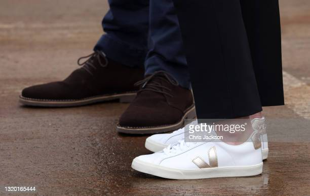 Prince William, Duke of Cambridge and Catherine, Duchess of Cambridge, shoe detail, as they meet local fishermen and their families to hear about the...