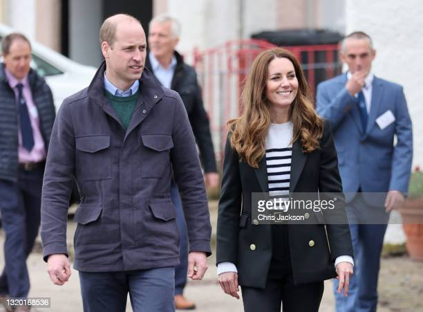 Prince William, Duke of Cambridge and Catherine, Duchess of Cambridge during a visit where they met local fishermen and their families to hear about...