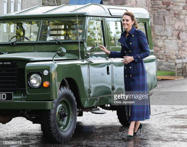 Prince William, Duke of Cambridge and Catherine, Duchess of Cambridge arrive in a Land Rover Defender that previously belonged to Prince Philip, Duke...