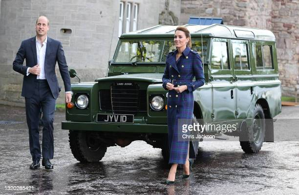 Prince William, Duke of Cambridge and Catherine, Duchess of Cambridge arrive in a Land Rover that previously belonged to Prince Philip, Duke of...