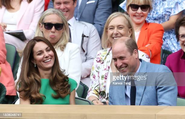 Prince William, Duke of Cambridge and Catherine, Duchess of Cambridge and Martina Navratilova attend day 12 of the Wimbledon Tennis Championships at...