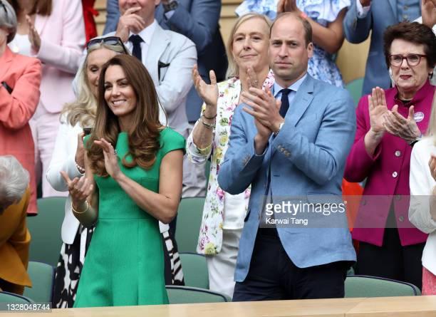 Prince William, Duke of Cambridge and Catherine, Duchess of Cambridge, Martina Navratilova and Billie Jean King attend day 12 of the Wimbledon Tennis...