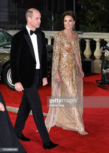 """Prince William, Duke of Cambridge and Catherine, Duchess of Cambridge attend the """"No Time To Die"""" World Premiere at Royal Albert Hall on September..."""