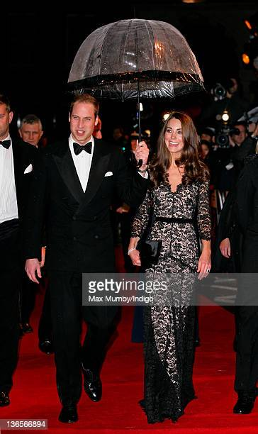 Prince William, Duke of Cambridge and Catherine, Duchess of Cambridge attend the UK premiere of War Horse at Odeon Leicester Square on January 8,...