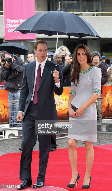 Prince William Duke of Cambridge and Catherine Duchess of Cambridge attend the UK Premiere of 'African Cats' in aid of Tusk at BFI Southbank on April...
