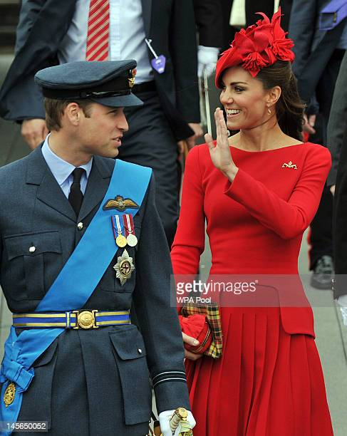 Prince William Duke of Cambridge and Catherine Duchess of Cambridge prepare to board the royal barge 'Spirit of Chartwell' during the Thames Diamond...
