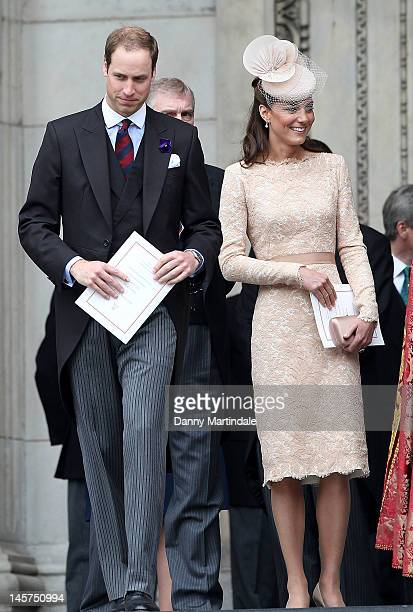 Prince William, Duke of Cambridge and Catherine, Duchess of Cambridge depart the Service of Thanksgiving at St Paul's Cathedral, as part of the...