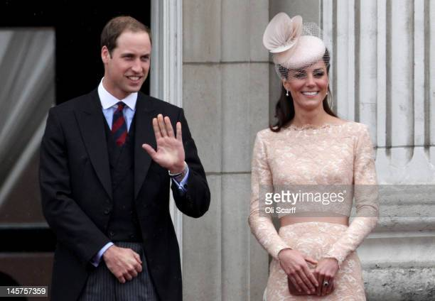 Prince William Duke of Cambridge and Catherine Duchess of Cambridge on the balcony of Buckingham Palace after the service of thanksgiving at StPaul's...