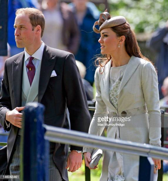 Prince William Duke of Cambridge and Catherine Duchess of Cambridge attend the wedding of Emily McCorquodale and James Hutt at The Church of St...
