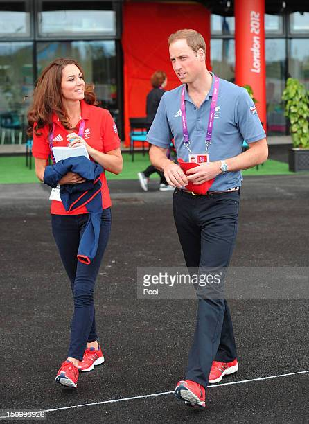 Prince William, Duke of Cambridge and Catherine, Duchess of Cambridge leave the Velodrome after watching cycling events at the London 2012 Paralympic...