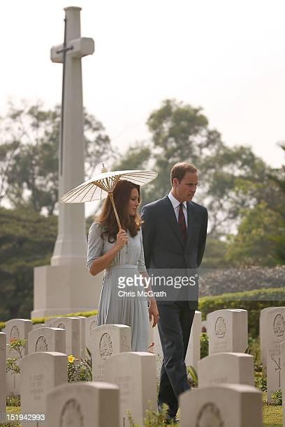 Prince William Duke of Cambridge and Catherine Duchess of Cambridge tour the Kranji War Memorial on day 3 of Prince William Duke of Cambridge and...