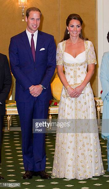 Prince William Duke of Cambridge and Catherine Duchess of Cambridge attends an official dinner hosted by Malaysia's Head of State Sultan Abdul Halim...