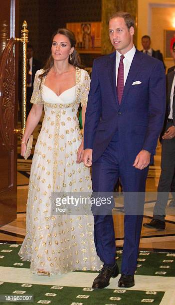 Prince William, Duke of Cambridge and Catherine, Duchess of Cambridge attends an official dinner hosted by Malaysia's Head of State Sultan Abdul...