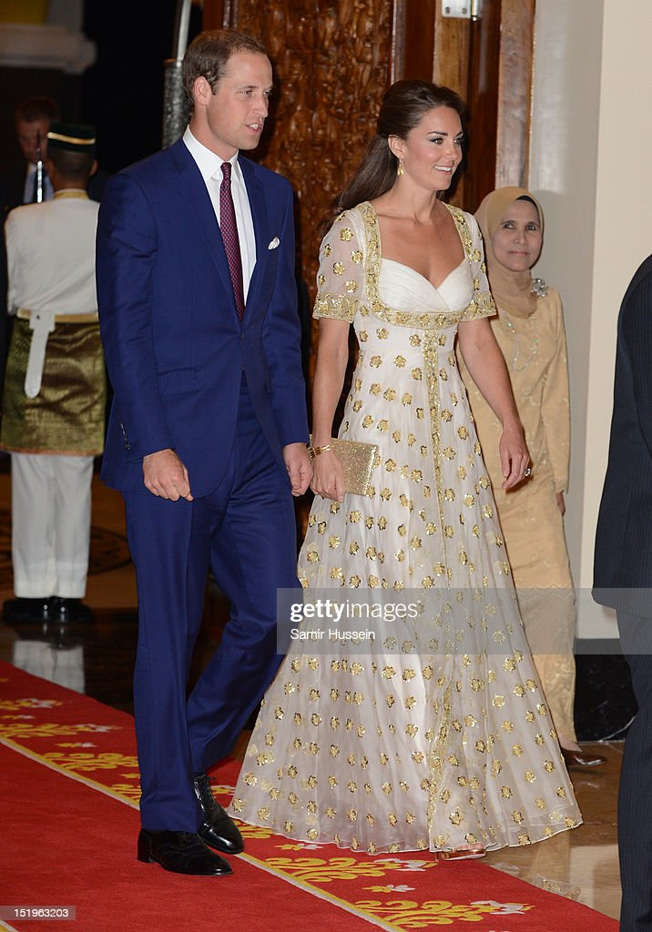 Prince William, Duke of Cambridge (L) and Catherine, Duchess of Cambridge attend an official dinner hosted by Malaysia's Head of State Sultan Abdul Halim Mu'adzam Shah of Kedah on Day 3 of Prince William, Duke of Cambridge and Catherine, Duchess of Cambridge's Diamond Jubilee Tour of South East Asia at the Istana Negara on September 13, 2012 in Kuala Lumpur, Malaysia.