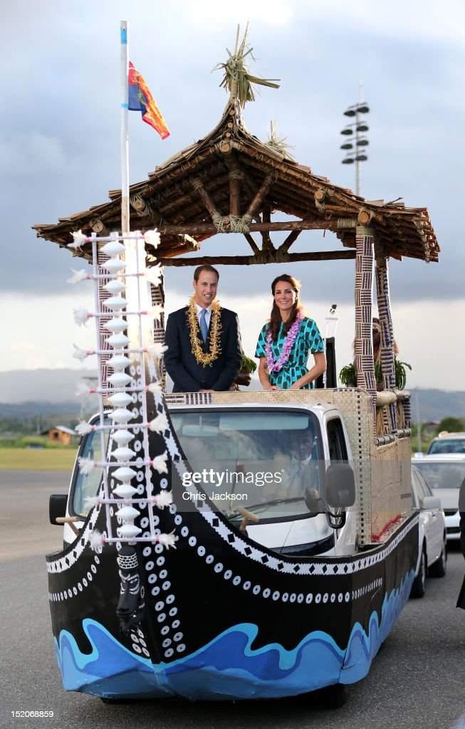 Prince William, Duke of Cambridge and Catherine, Duchess of Cambridge travel in a special boat vehicle as they arrive at Honiara International Airport during their Diamond Jubilee tour of the Far East on September 16, 2012 in Honiara, Guadalcanal Island. Prince William, Duke of Cambridge and Catherine, Duchess of Cambridge are on a Diamond Jubilee tour representing the Queen taking in Singapore, Malaysia, the Solomon Islands and Tuvalu.