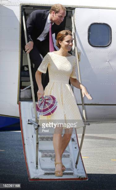 Prince William Duke of Cambridge and Catherine Duchess of Cambridge arrive at Honiara International airport after flying from Marau before heading to...