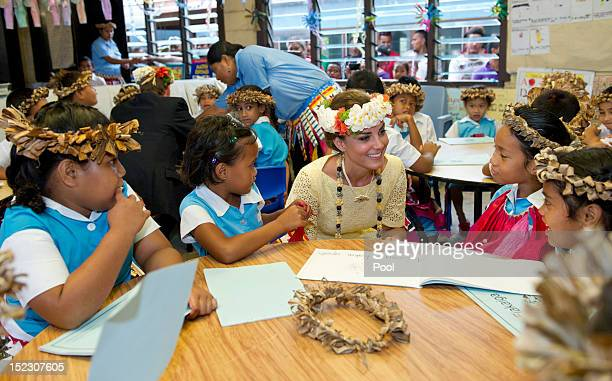 Prince William Duke of Cambridge and Catherine Duchess of Cambridge visit Nauti Primary School on September 18 2012 in Tuvalu Prince William Duke of...