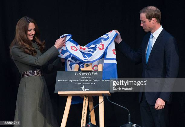 Prince William Duke of Cambridge and Catherine Duchess of Cambridge officially launch the Football Association's National Football Centre at St...