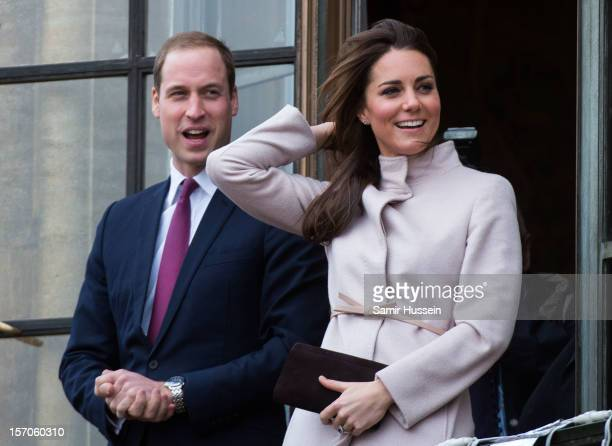 Prince William Duke of Cambridge and Catherine Duchess of Cambridge make an official visit to the Guildhall on November 28 2012 in Cambridge England