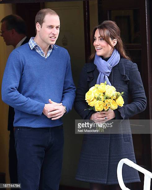 Prince William Duke of Cambridge and Catherine Duchess of Cambridge leave the King Edward VII hospital where she has been treated for hyperemesis...