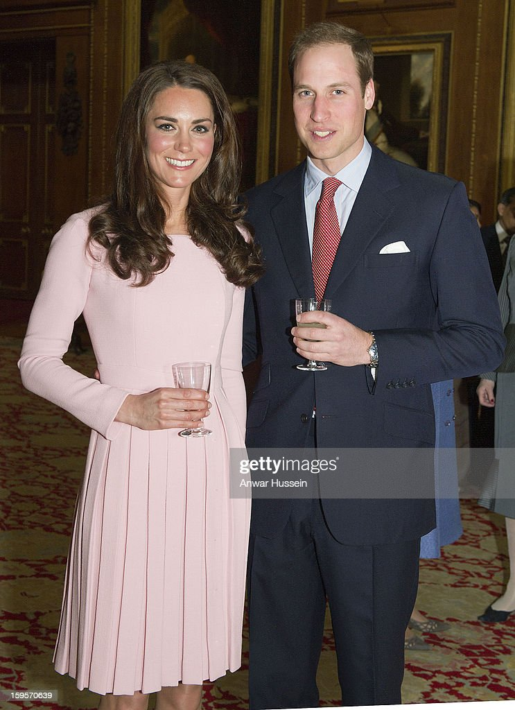 Prince William, Duke of Cambridge and Catherine, Duchess of Cambridge attend a pre luncheon reception for Sovereign Monarchs and guests in celebration of Queen Elizabeth's Diamond Jubilee at Windsor Castle on May 18, 2012 in Windsor, England.