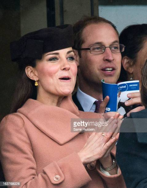 Prince William Duke of Cambridge and Catherine Duchess of Cambridge watch the races on day 4 of the Cheltenham Festival on Gold Cup Day at Cheltenham...