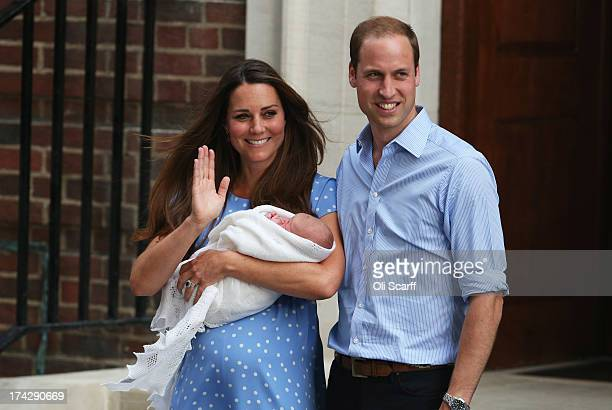 Prince William, Duke of Cambridge and Catherine, Duchess of Cambridge, depart The Lindo Wing with their newborn son at St Mary's Hospital on July 23,...