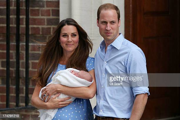 Prince William Duke of Cambridge and Catherine Duchess of Cambridge leave the Lindo Wing of St Mary's Hospital with their newborn son on July 23 2013...