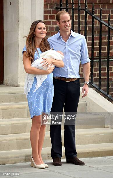 Prince William Duke of Cambridge and Catherine Duchess of Cambridge depart The Lindo Wing with their newborn Son at St Mary's Hospital on July 23...
