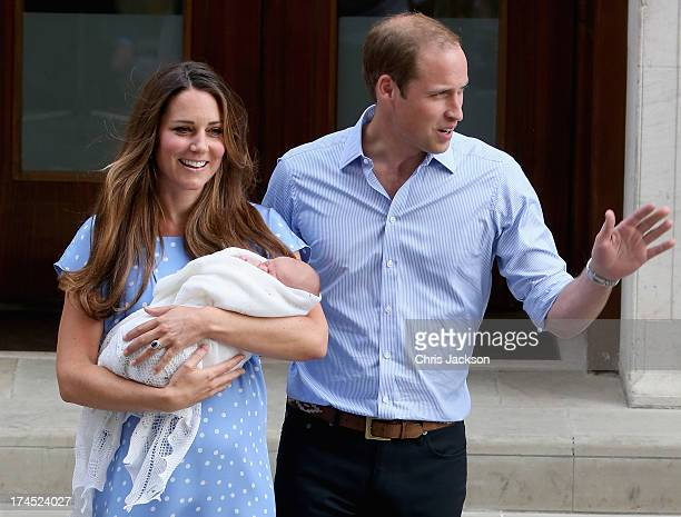 Prince William, Duke of Cambridge and Catherine, Duchess of Cambridge, depart The Lindo Wing with their newborn son Prince George of Cambridge at St...