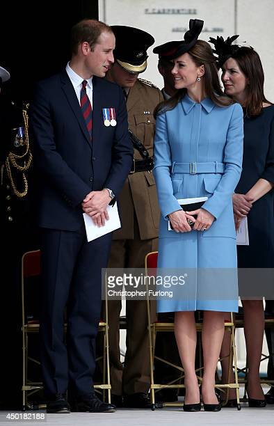 Prince William, Duke of Cambridge and Catherine, Duchess of Cambridge chat as they attend the 70th anniversary of the D-Day landings on June 6, 2014...