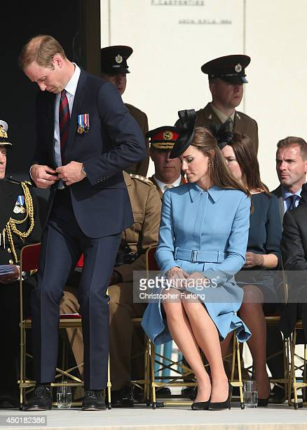 Prince William Duke of Cambridge and Catherine Duchess of Cambridge attend the 70th anniversary of the DDay landings on June 6 2014 in Arromanches...