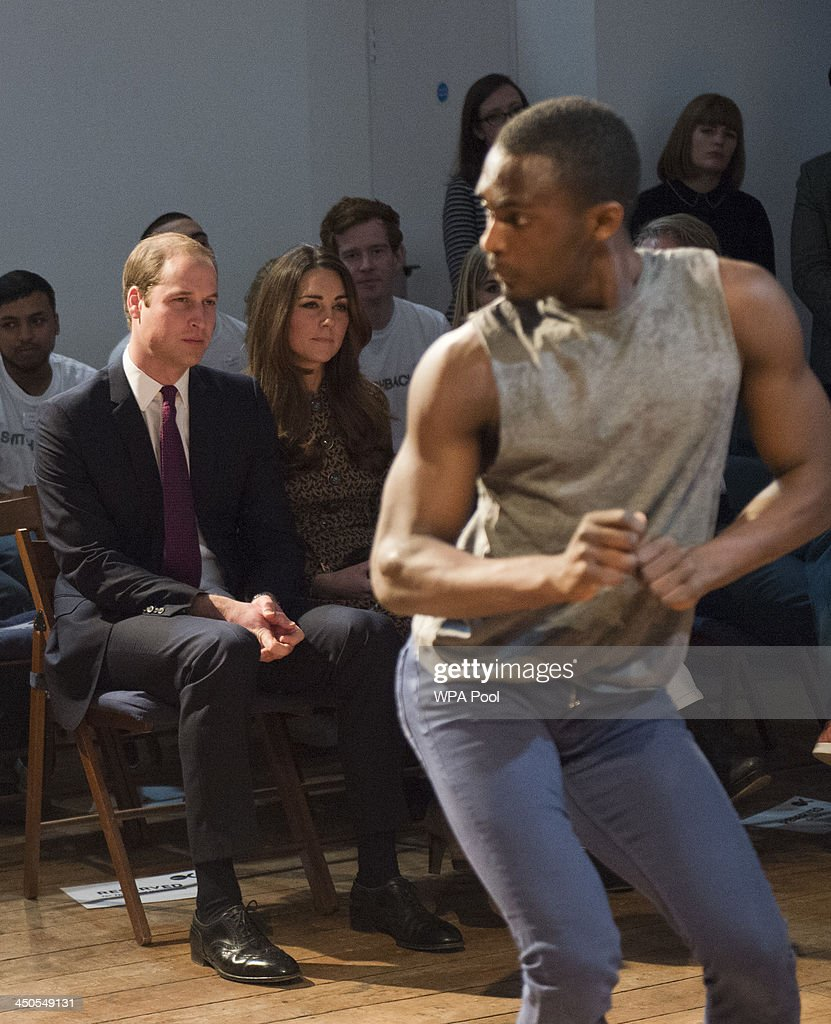 Prince William, Duke of Cambridge and Catherine, Duchess of Cambridge visit the Only Connect Head Office to learn how they support ex-offenders and young people at risk of offending, before moving to a nearby Only Connect project venue to watch a dance performance on November 19, 2013 in London, England.