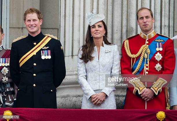 Prince William Duke of Cambridge and Catherine Duchess of Cambridge with Prince Harry during Trooping the Colour at The Royal Horseguards on June 14...